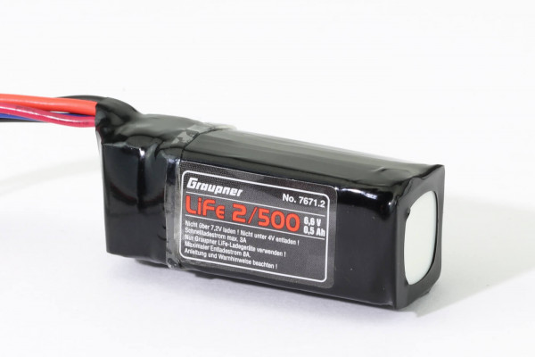 500 mAh LiFe Empfängerakku / Pufferakku 6,6 V · Graupner