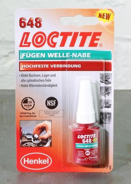 5 ml LOCTITE 648 · Fügen Welle-Nabe · Fügeklebstoff hochfest · MHD September 2022