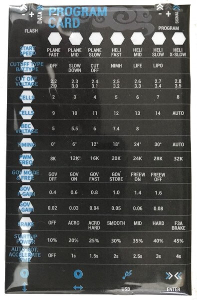 SWORD PROG CARD · für Sword Brushless Regler · Sunrise Model