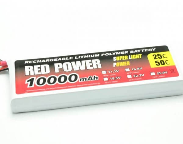Red Power SLP 10000 mAh 3S Lipo (11,1V) 25 C · Pichler
