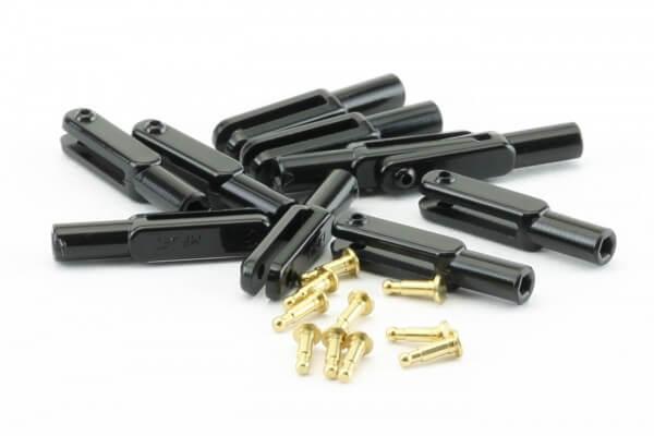 10er-Pack 23mm Mini-Nylon-Gabelköpfe M2 schwarz · B=1,6 mm · Pin Ø 1,6 mm · MP-Jet