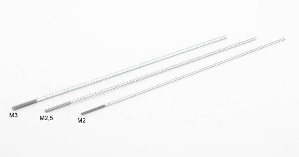 Stahl-Schubstange Ø 1,7 mm x 200 mm mit Teilgewinde M2