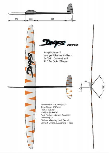 Drops 254 CFK Extrem-Hartschale Hangflugmodell · Drops-Factory