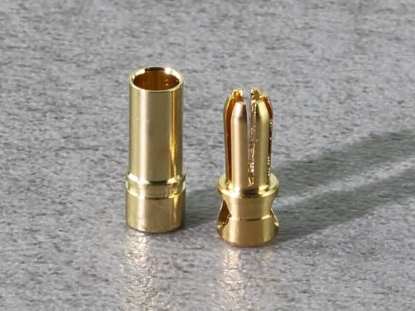 1 Set Ø 3,5  Premium Goldstecker gehärtet und geschlitzt mit Ø 3,5 Goldbuchse · Muldental