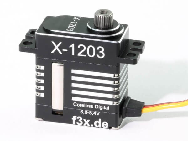 X-1203 · 12 mm HV-Servo bis 105 Ncm · 0,06 s · Coreless Digital