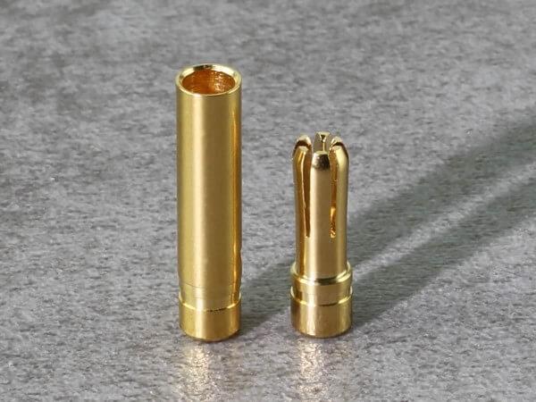 1 Set Ø 4,0  Premium Goldstecker gehärtet und geschlitzt mit Ø 4,0 Goldbuchse · Muldental