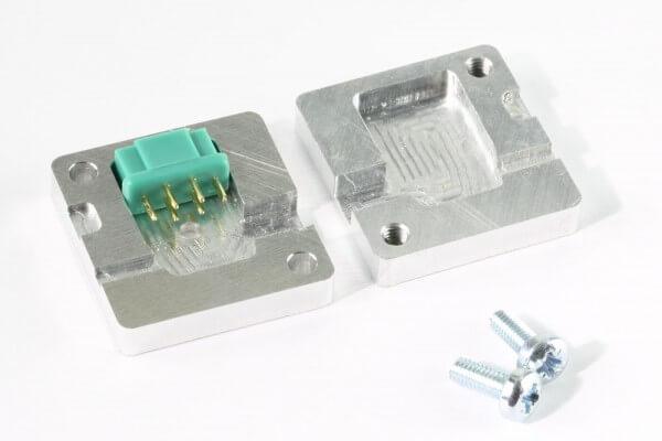 Aluminium Gießform 90° für MPX Stecker und Buchsen 6-Pol · CNC gefräst · Made in Germany