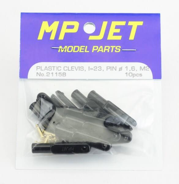 10er-Pack 23 mm Mini-Nylon-Gabelköpfe M2 schwarz · B=2,0 mm · Pin Ø 1,6 mm · MP-Jet