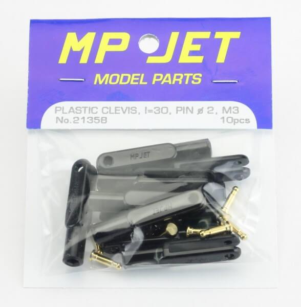 10er-Pack 30 mm Nylon-Gabelköpfe M3 schwarz · B=2,5 mm · Pin Ø 2 mm · MP-Jet