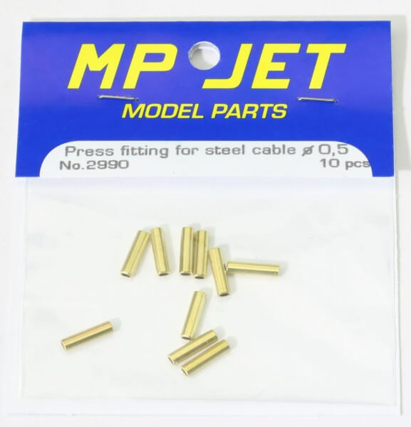 10 Stück Quetschhülsen Messing für Edelstahllitze Ø 0,5 mm · MP-Jet