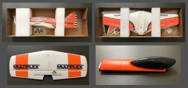 Set: Rumpf + Fläche + Leitwerk + Haube für MPX FunRacer orange · Original Ersatzteile von Multiplex