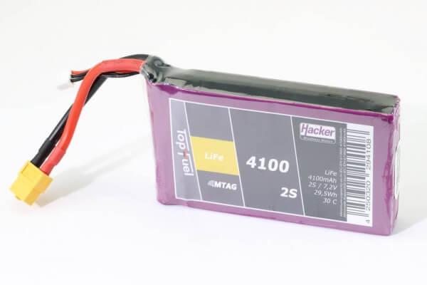 4100 mAh 2S LifePO4-Akku (6,6V) 30 C · XT60 · Hacker TopFuel MTAC