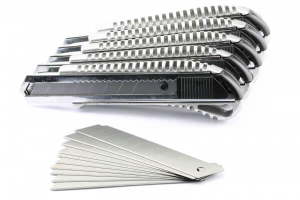 Set 5 Stück Alu Cuttermesser mit Abbrechklinge · plus 1 x 10er Set Ersatzklingen