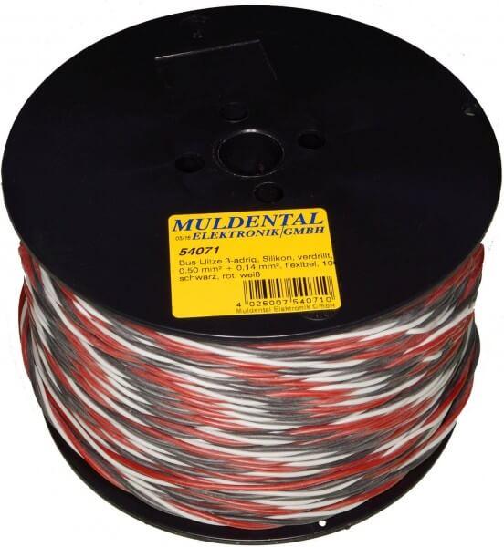 Silikon-Servolitze 2 x 0,50 mm² + 1 x 0,14 mm² verdrillt · schwarz rot weiß · Meterware · BUS