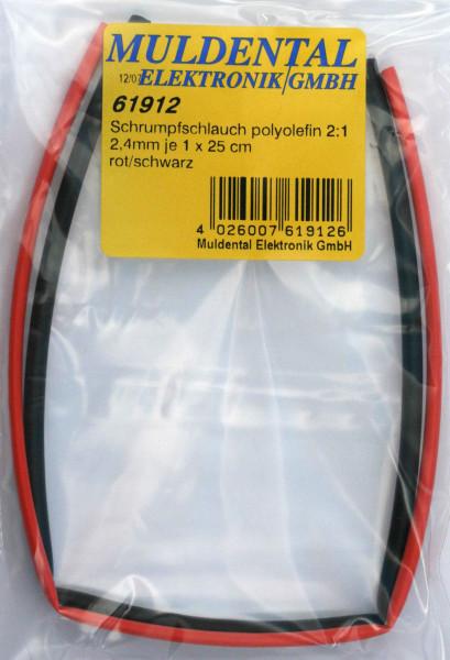 Schrumpfschlauch  ø 2,4 mm · 25 cm rot + 25 cm schwarz · 2:1 · Polyolefin selbstverlöschend