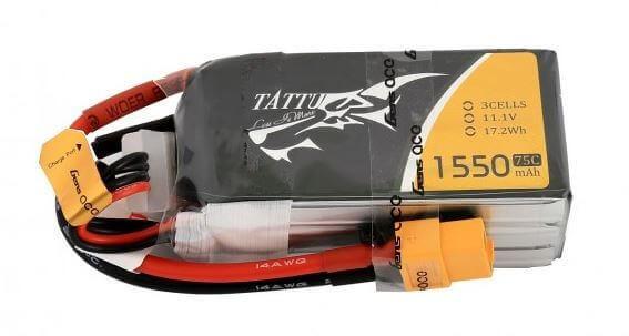 Tattu 1550 mAh 3S Lipo (11,1V) 75 C · XT60