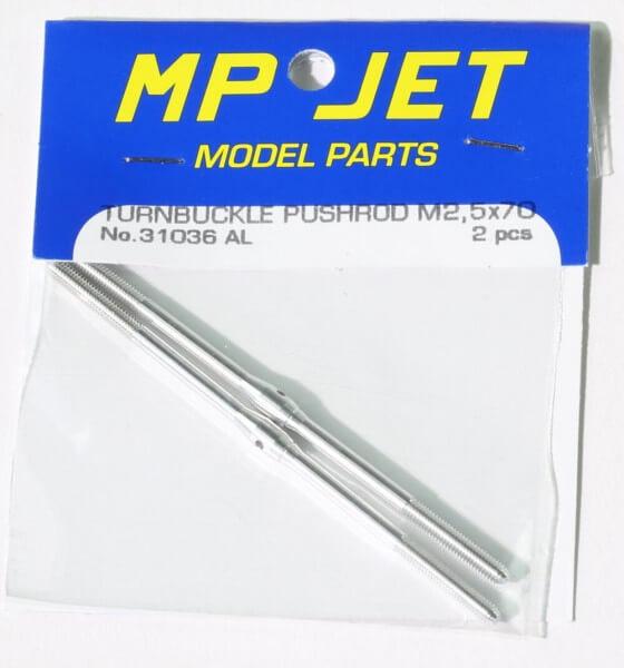 Alu-Schubstange 70 mm M 2,5 mit Rechts- und Linksgewinde · 2er-Pack · MP-Jet