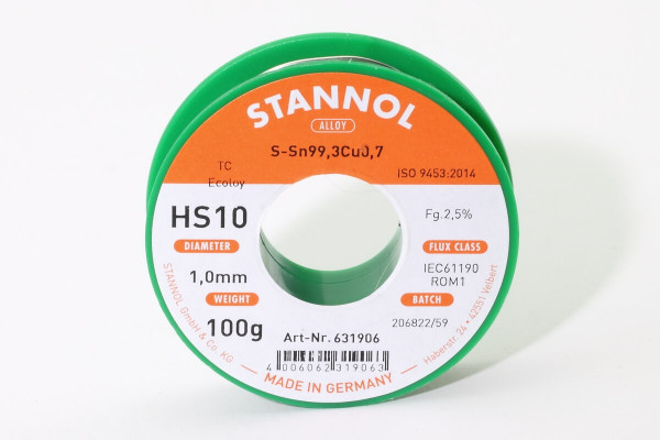 100 g Stannol HS10 Lötzinn Ø 1 mm · RoHS bleifrei · Ecoloy TC