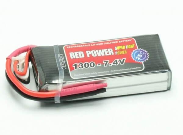 Red Power SLP 1300 mAh 2S Lipo (7,4V) 25 C · Pichler