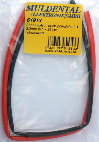 Schrumpfschlauch  ø 3,2 mm · 25 cm rot + 25 cm schwarz · 2:1 · Polyolefin selbstverlöschend