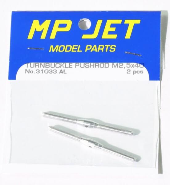 Alu-Schubstange 40 mm M 2,5 mit Rechts- und Linksgewinde · 2er-Pack · MP-Jet