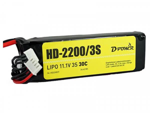 HD-2200 3S Lipo (11,1V) 30C - T-Stecker · D-Power