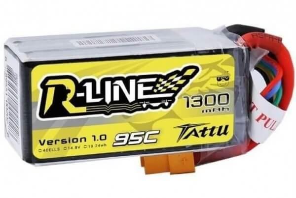 Tattu R-Line 1300 mAh 4S Lipo (14,8V) 95 C · XT60