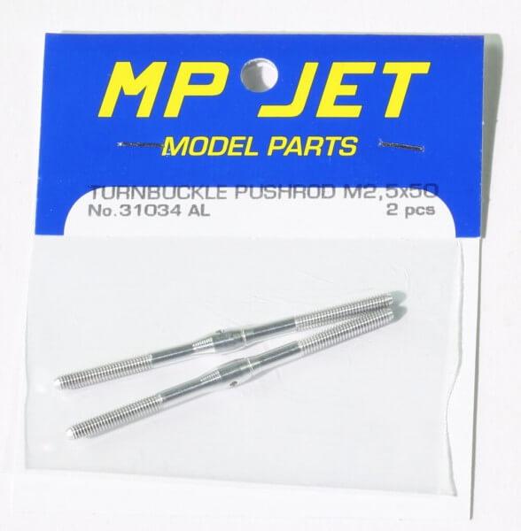 Alu-Schubstange 50 mm M 2,5 mit Rechts- und Linksgewinde · 2er-Pack · MP-Jet