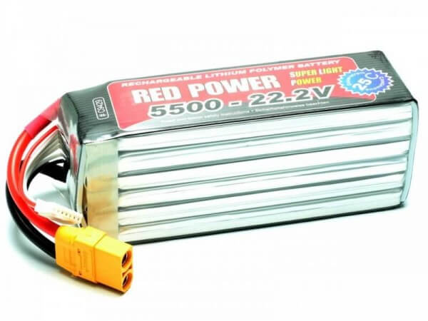 Red Power SLP 5500 mAh 6S Lipo (22,2V) 25 C · XT90 · Pichler