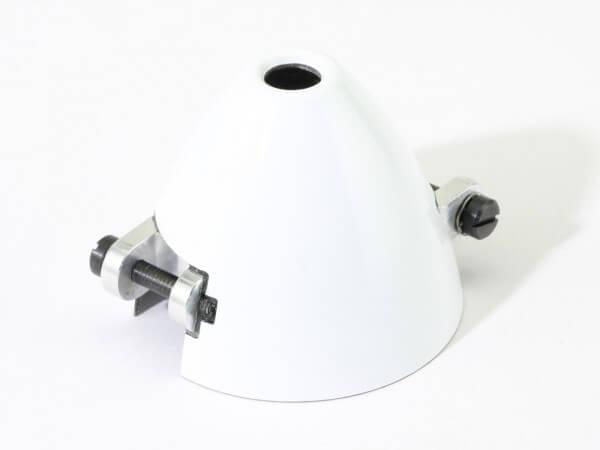 Ø 42 mm RFM CFK-Spinner weiß · Bohrung Ø 5 mm · versetzt · mit Kühlloch · 0° verdreht