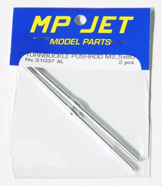 Alu-Schubstange 80 mm M 2,5 mit Rechts- und Linksgewinde · 2er-Pack · MP-Jet