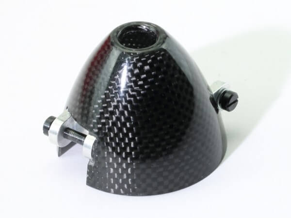 Ø 45 mm RFM CFK-Spinner Carbon · Bohrung Ø 5 mm · versetzt · mit Kühlloch · 0° verdreht