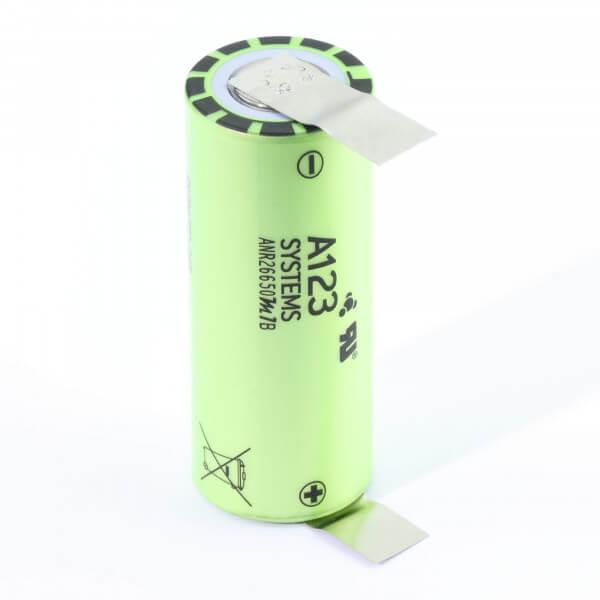 A123 ANR26650M1B · 2500 mAh 3,3 V mit U-Lötfahne bis 120 A LifePo4
