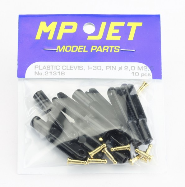 10er-Pack 30 mm Nylon-Gabelköpfe M 2,5 schwarz · B=2,5 mm · Pin Ø 2,0 mm · MP-Jet