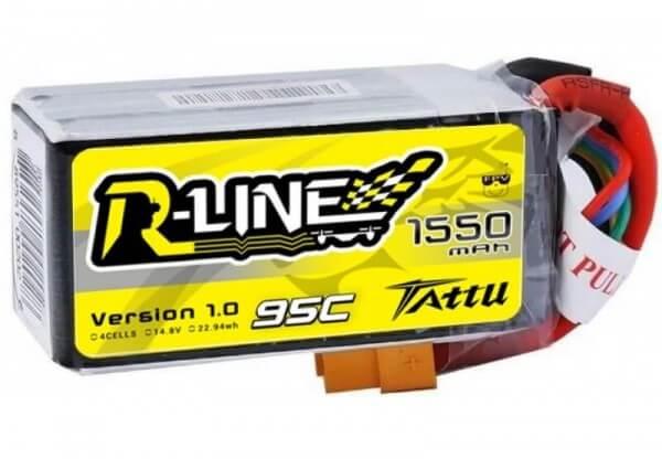 Tattu R-Line 1550 mAh 4S Lipo (14,8V) 95 C · XT60