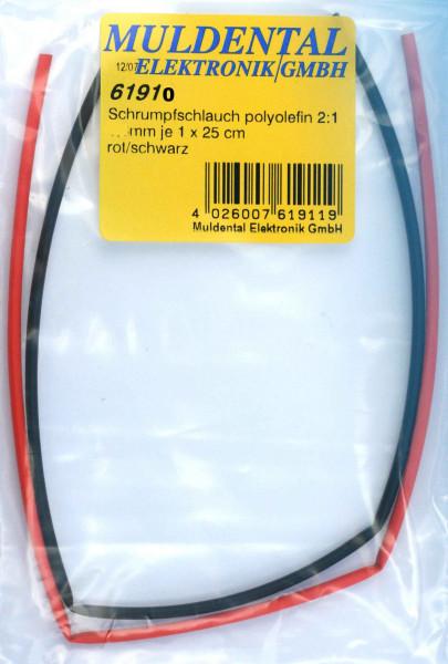 Schrumpfschlauch  ø 1,2 mm · 25 cm rot + 25 cm schwarz · 2:1 · Polyolefin selbstverlöschend