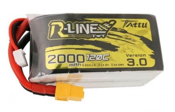 Tattu R-Line 3.0 · 2000 mAh 4S Lipo (14,8V) 120 C · XT60